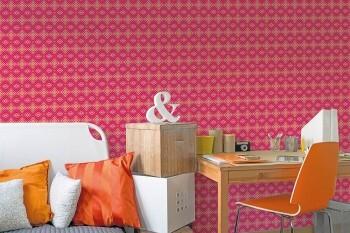 Wandbild Rot-Pink Grafisches Karomuster