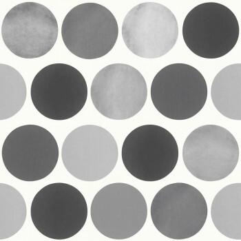 Große Punkte Grau Vlies-Tapete Kinder