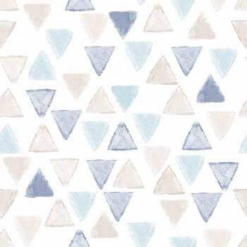 Tapete Beige Blau Weiß Dreiecke Vlies