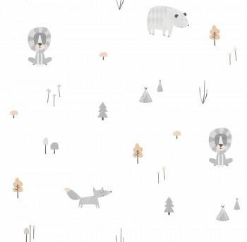 Papiertapete Weiß Grau Tiere Wald Ohlala 335040