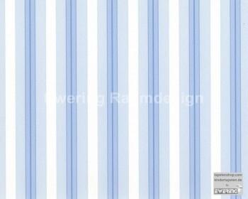 Blau Papier-Tapete Streifen _L