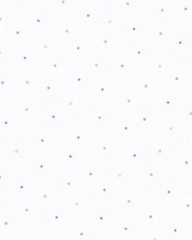 Punkte Bunt Vliestapete Weiß