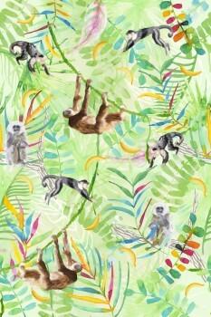 Wandbild Affen Dschungel Bunt