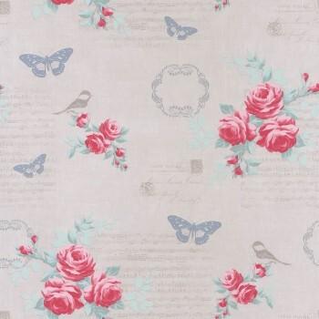 Vlies Tapete Pink Blumen Vögel