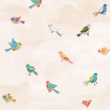 Wandbild Vlies Bunte Vögel Sand