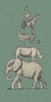 Tiere Übereinander Wandbild Grün