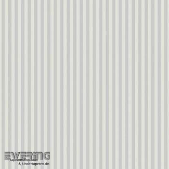 Streifen-Tapete Grau-Weiß Kinder