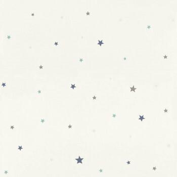 Weiß Blau Sterne Tapete Papiertapete