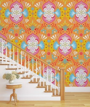 Wandbild Orange Bunt Grafische Muster