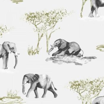 Tapete Elefanten Grün Grau Aquarell