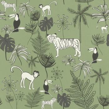 Dschungel-Tapete Tiere Dunkel-Grün