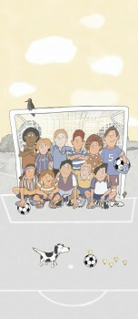 Fußball Wandbild Hellgelb Grau