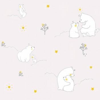 Bären Tapete Blass-Lila