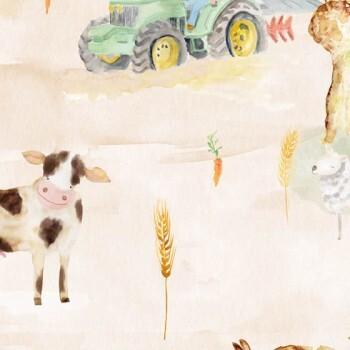 Wandbild Acker Sand Tiere Trecker