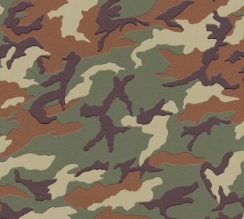 Tapete Grünbraun Camouflage