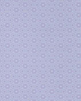 Blumen Vlies Tapete Lila-Blau Glänzend
