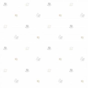 Tapete Pfotenabdrücke Grau-Braun Lullaby