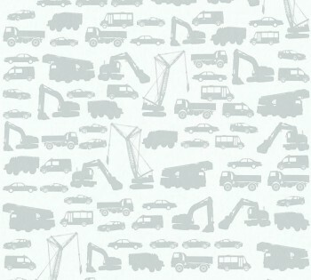 Vlies Tapete hellgrau Fahrzeuge