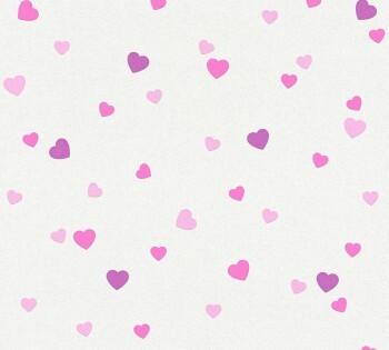 Papiertapete Pinke Herzchen