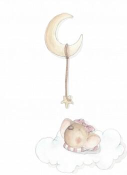 Maus Wolke Mond Wandsticker Rosa