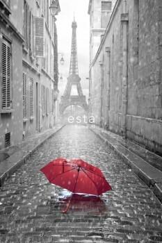 Wandbild Eiffelturm Regenschirm Rot