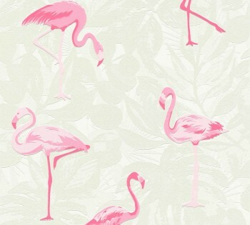 Tapete Weiß Pinke Flamingos