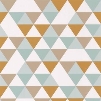 Tapete Vlies Grafische Dreiecke Ocker Blau Grau Weiß
