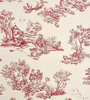 36-CHT22918106 Casadeco - Chantilly Toile de Jouy rot Vliestapete