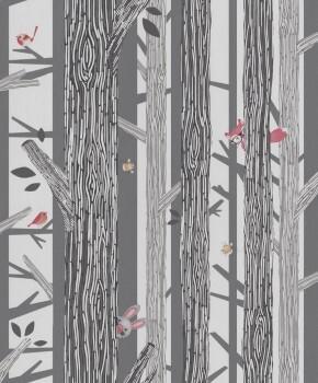 Vliestapete Bäume Vögel Schwarz