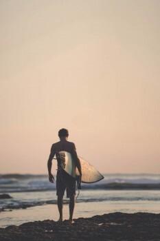 Fototapete Surfer Strand Abend