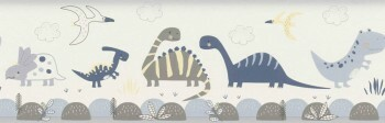 Papier-Borte Blau Weiß Dinosaurier