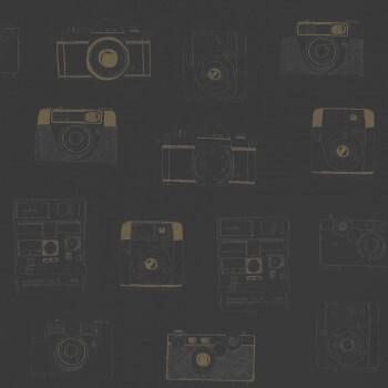 Gold Glänzend Schwarz Kamera Vliestapete