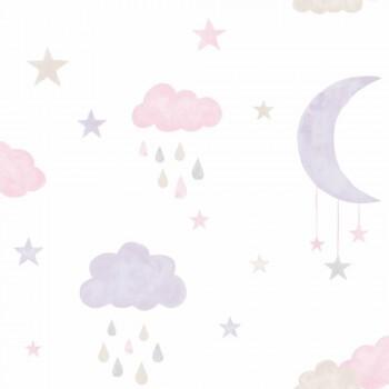 Vliestapete Mond Wolken Rosa