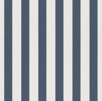 Dunkel-Blau Weiß Streifen Tapete