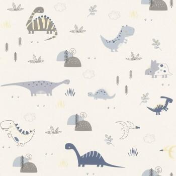 Weiß Blau Dinosaurier Tapete Jungs