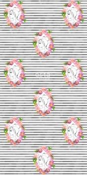 Streifen Portrait Wandbild Rosa Blumen