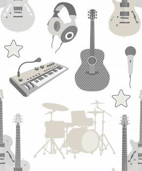 Tapete Band Instrumente Weiß Beige