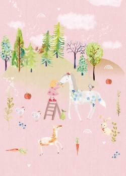 Wandbild Wald Rosa Hügel Pferd