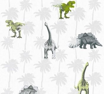 Vliestapete Dinosaurier Grün Grau _L