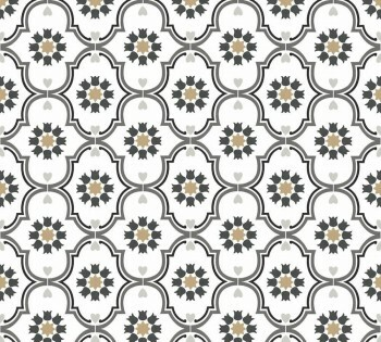 Ornamente Tapete Weiß Grau Mustertapete