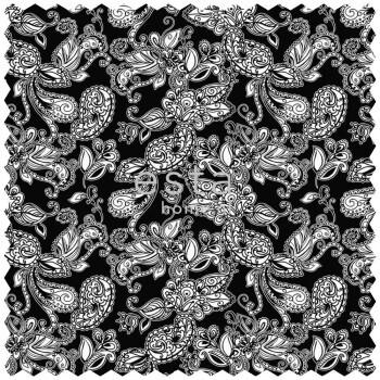 Dekostoff Funky Blumen Paisleys Schwarz Weiß