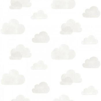 Vliestapete Wolken Grau Weiß