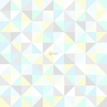 Dreiecke Vliestapete Gelb-Blau-Grün