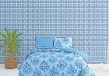 Wandbild Blumen Blau Kaleidoskop