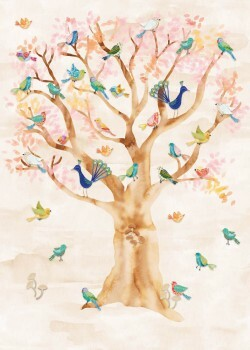 Wandbild Sand Vögel Baum Vlies