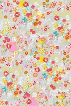 Wandbild Hell-Grau Blumen Bunt