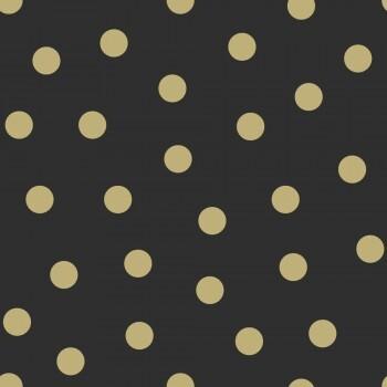 Tapete Punkte Schwarz Gold