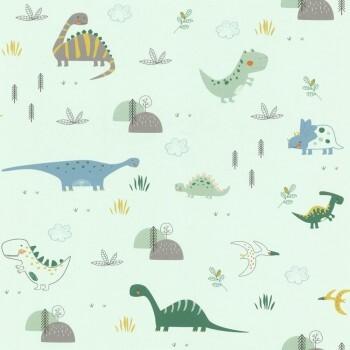 Dinosaurier Tapete Grün Papier Matt
