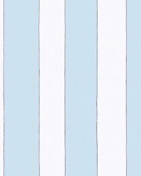 Vliestapete Streifen Hellblau Weiß