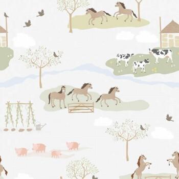 Wandbild Weiß-Grau Bauernhof